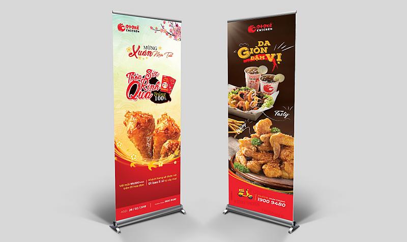 """Mẫu thiết kế Standee """"nhìn là muốn ăn"""" của Otoké Chicken"""