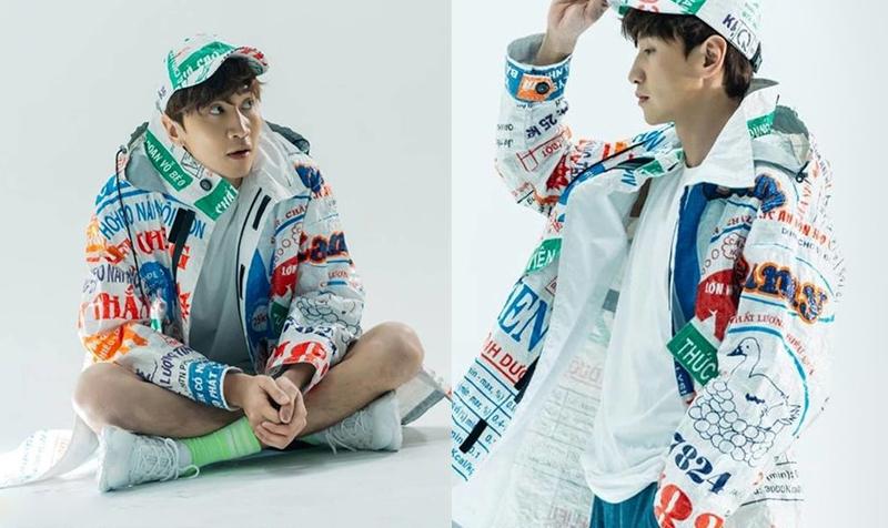 Lee Kwang Soo khoác trên mình áo khoác làm từ bao bì nông nghiệp