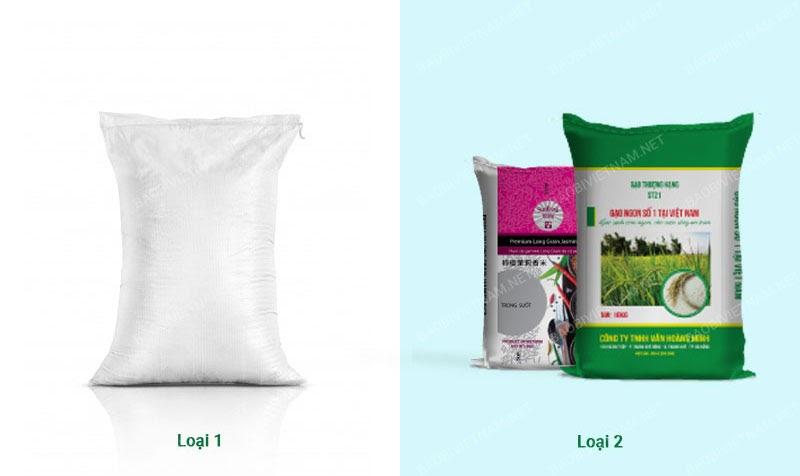 Hai loại bao bì đựng gạo phổ biến
