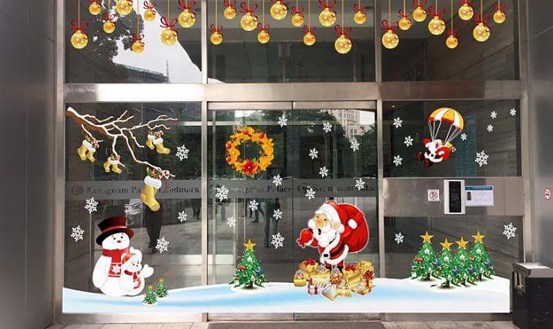 In decal PP dán kính trang trí dịp Noel