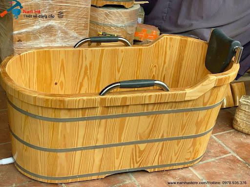 Bồn tắm gỗ thông bọc da cao cấp